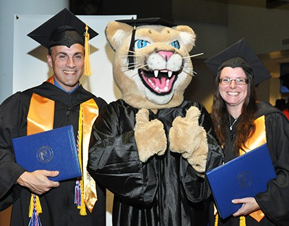 Pete the Panther sends two graduates off to their next adventure.
