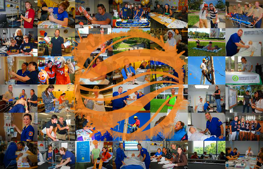 Collage of photos of students in training with a painted sphere overlay