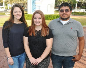 2015 All-Florida Academic Team members from SFSC. Pictured (left to right): Joy Derrick, Katie Leman, and Ruben De La Cruz. Not pictured: Jessica Saenz and Emma Cardinal.