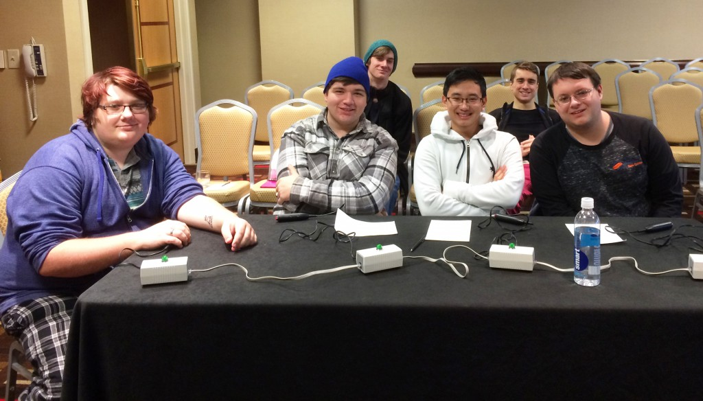 Pictured (left to right): Jordan Thorton, Logan Boyd, Mike Cao, and Christian Reitnauer. Back Row (second row, sitting behind): Garrett Edenfield and Mattew Estiana.