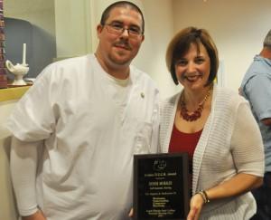 Graduate  Robert Keene with Denise Morales-Golden Duck Award Winner