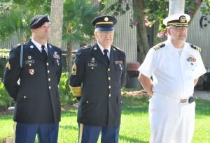 (L-R) SFSC student Sgt. Shawn Owens, Master Sgt. Jack Briggs, and Cmdr. Eric Christensen