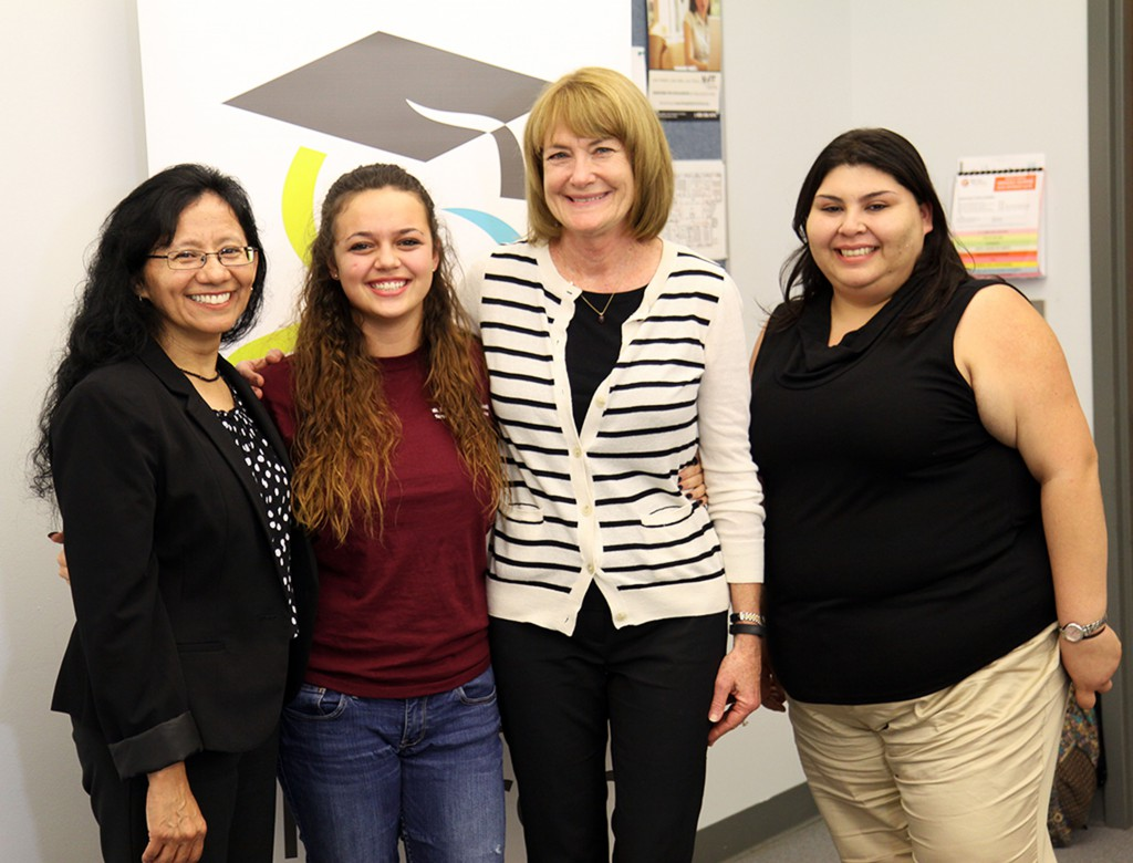 (l-R) Irene Castanon, Coordinator, Take Stock in Children; Sierra Pelham, SFSC Student and Leaders 4 Life finalist; Debbie Hackney and Danielle Ochoa, College Success Coaches with Take Stock in Children.