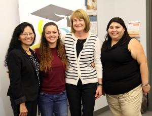 (l-R) Irene Castanon, Coordinator, Take Stock in Children; Sierra Pelham, SFSC Student and Leaders 4 Life finalist; Debbie Hackney and Danielle Ochoa, College Success Coaches with Take Stock in Children.