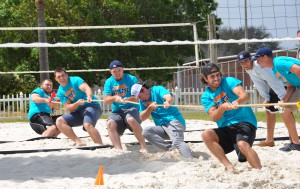 SFSC students in a contest of strenght compete in a game of tug-of-war.