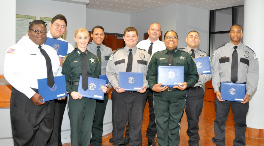 Graduates of SFSC's Basic Corrections Class 16-189 are (front row, from left): Jamila Richards, Catessa Holt, Juan Thigpen, Megan White, and Bobby Ridley. In the back row are, from left: Alfredo Flores, Rebecca Hall, David Breau Jr., and Eddie Aguilar.