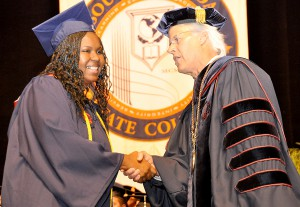 Sharmin Jones, student Commencement speaker, with Dr. Thomas C. Leitzel.
