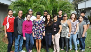 "A group of SFSC ESOL students who studied the ""Staying Healthy"" curriculum get together after one of the daytime classes."