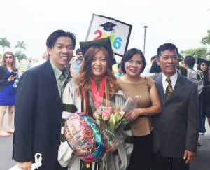 Hong Nguyen with her family after graduating from pharmacy school.