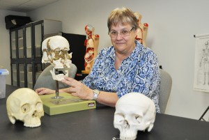 Dr. Ellen Catherine Cover in the anatomy laboratory at South Florida State College.