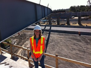 Sarah Futral at a bridge site under construction in New Tampa.