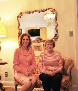 Joan Hartt, right, seated with Jamie Bateman, SFSC's executive director for Institutional Advancement, in Room 208 of the Hotel Jacaranda.