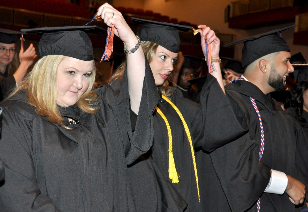 Associate degree students move their tassels from right to left, following a long tradition showing they've now earned their degrees.