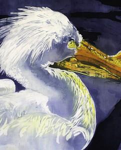 A piece of batik artwork featuring a rendering of a bird.
