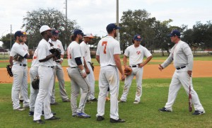 Coach Rick Hitt (far right) on Panther Field with his players during an afternoon practice.
