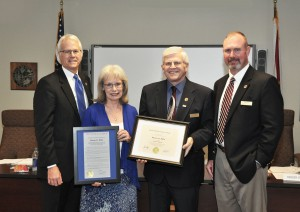 At the January District Board of Trustees meeting Susie Hale was named Director Emerita. From left, Dr. Thomas C Leitzel, Susie Hale, Glenn Little, and Derren J. Bryan.