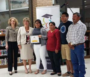From left, SFSC Foundation executive director Jamie Bateman, Pamela Karlson, Maria Gloria, Esmeralda Avila,  Omar Gloria, and Artemio Gloria.