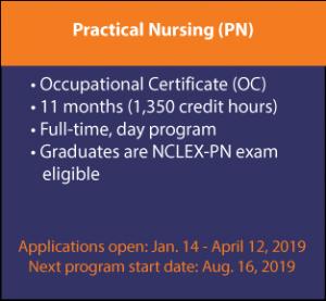 Practical Nursing (PN) Occupational Certificate (OC), 11 months (1,350 credit hours), Full-time, day program, Graduates are NCLEX-PN exam eligible, Applications open: Jan. 14 - April 12, 2019, Next program start date: Aug. 16, 2019
