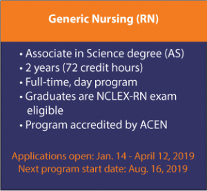 Generic Nursing (RN), Associate in Science degree (AS), 2 years (72 credit hours), Full-time, day program, Graduates are NCLEX-RN exam eligible, Program accredited by ACEN, Applications open: Jan. 14 - April 12, 2019, Next program starts: Aug. 16, 2019