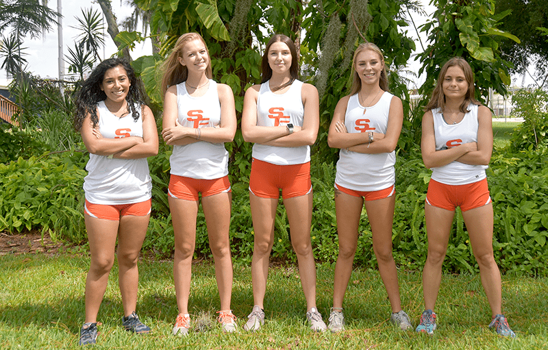 The five women who make up SFSC's 2019 cross country team