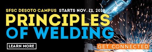 """The """"Principles of Welding"""" class begins at the SFSC DeSoto Campus on Nov. 11, 2019. Click here to learn more about the course."""