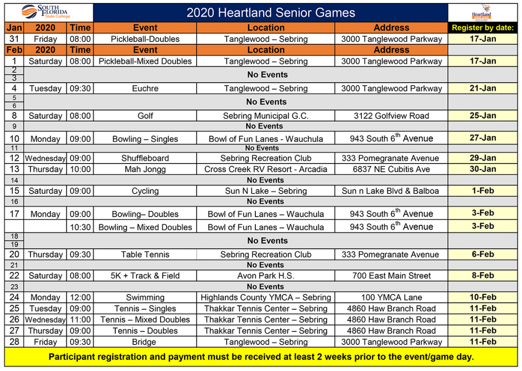 Click here to access a PDF version of the 2020 Heartland Senior Games schedule.
