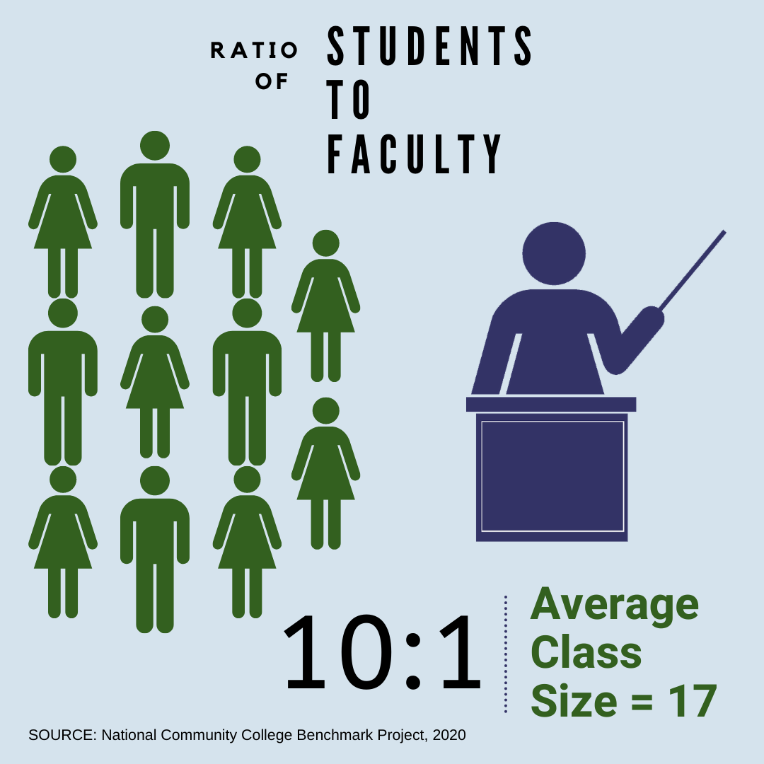 The student to faculty ration is 11:1. Average class size is 17.
