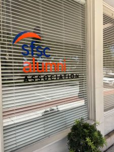 Alumni Association window sign