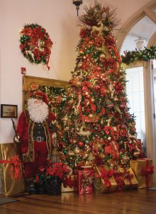 Decorated Christmas tree in the lobby at the Hotel Jacaranda