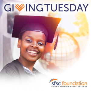 Female graduate in cap and gown with SFSC Alumni Association logo in the bottom right corner and the Giving Tuesday logo on the top