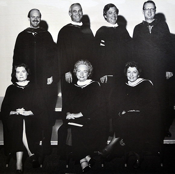 Photo of the SFSC District Board of Trustees in 1981 or 1982