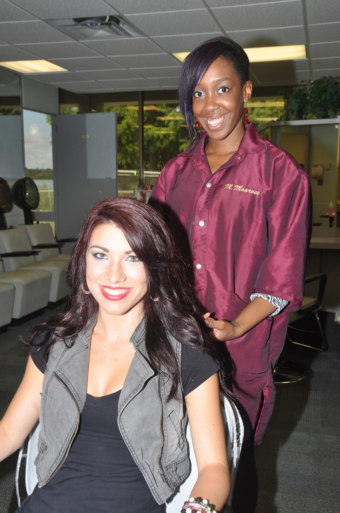Cosmetology student and her client