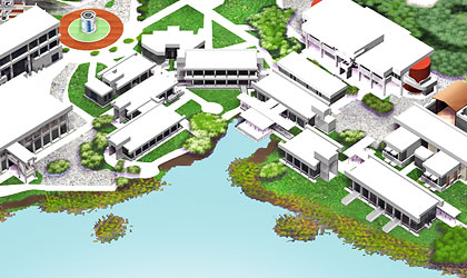 A three-dimensional map of the Highlands Campus showing buildings around Panther Cove Park