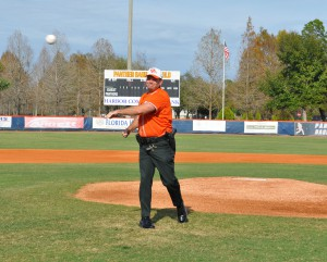 Highlands County sheriff Paul Blackman throws out the first pitch.