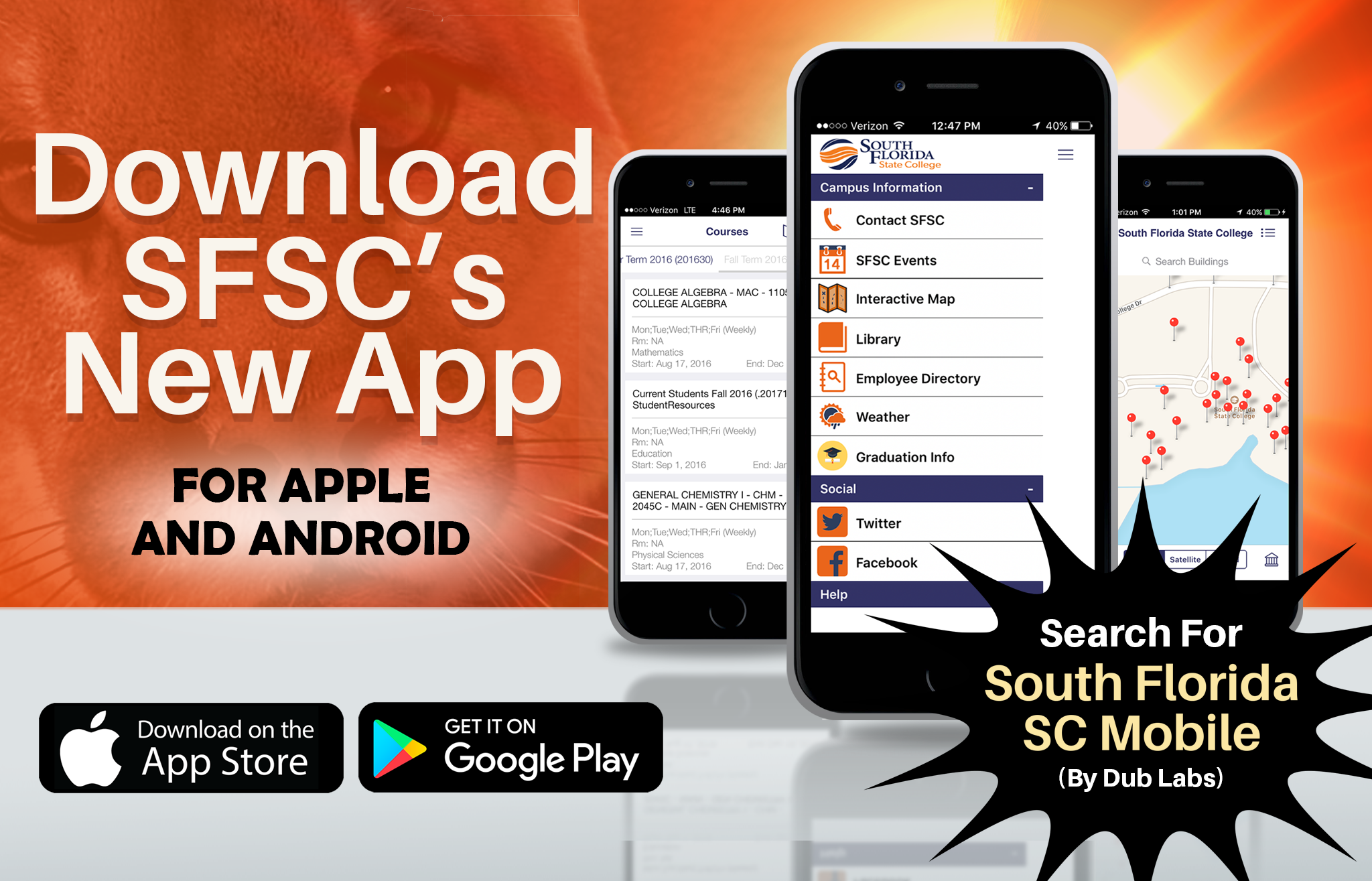 Download SFSC's New App. For Apple and Android. Download on the App Store. Get it on Google Play. Search for South Florida SC Mobile (By Dub Labs).