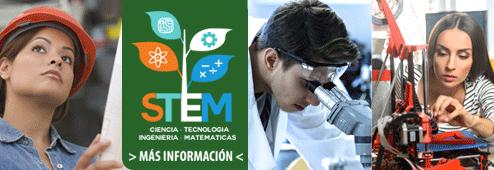 STEM. Ciencia. Tenologia. Ingenieria. Matematicas. Mas Information.