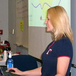 Patty Manderville, Math Instructor, shares distance learning techniques with a class of future online instructors