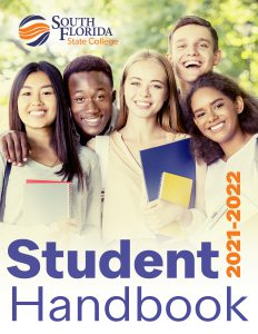 A diverse group of students standing together and the works Student Handbook 2021-2022 on the bottom and the College logo in the top left corner.