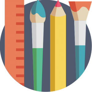 Icon for Humanities that includes a ruler, a paintbrush, a pencil, and a fan paint brush.